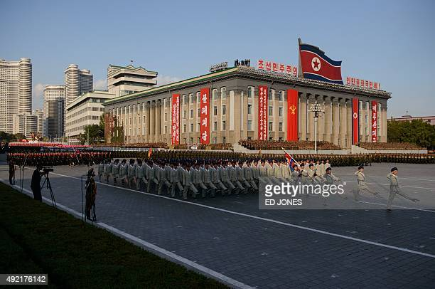 Soldiers march during a mass military parade at Kim IlSung square in Pyongyang on October 10 2015 North Korea was marking the 70th anniversary of its...