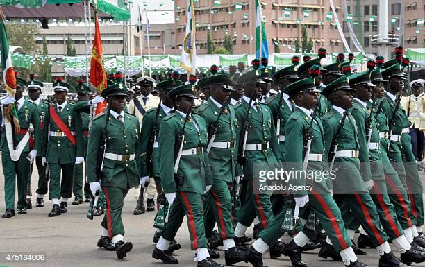 Soldiers march during the inauguration of new Nigerian President at the Eagles Square in Abuja on May 29 2015 Mohammadu Buhari defeated Goodluck...