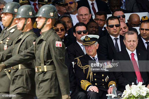 Soldiers march in front of Turkish President Recep Tayyip Erdogan and Prince Charles Prince of Wales during the Turkish International Ceremony at...
