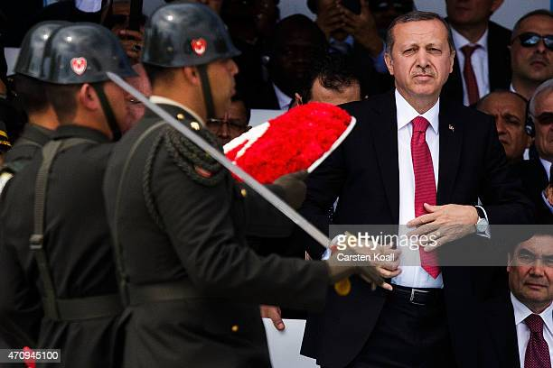 Soldiers march in front of Turkish President Recep Tayyip Erdogan during the Turkish International Ceremony at Mehmetcik Abidesi Martyrs Memorial to...