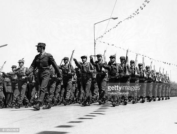 Soldiers march in the EOKA Day parade the anniversary of the start of the fouryear antiBritish EOKA campaign in Cyprus