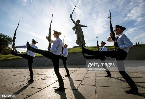 TOPSHOT Soldiers march on August 22 2017 during a changing of the Guard at the Mamayev Kurgan World War Two memorial complex and The Motherland Calls...