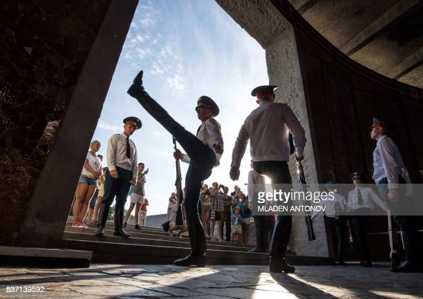 TOPSHOT Soldiers march on August 22 2017 during a changing of the Guard at the Mamayev Kurgan World War Two memorial complex and Mother Homeland...