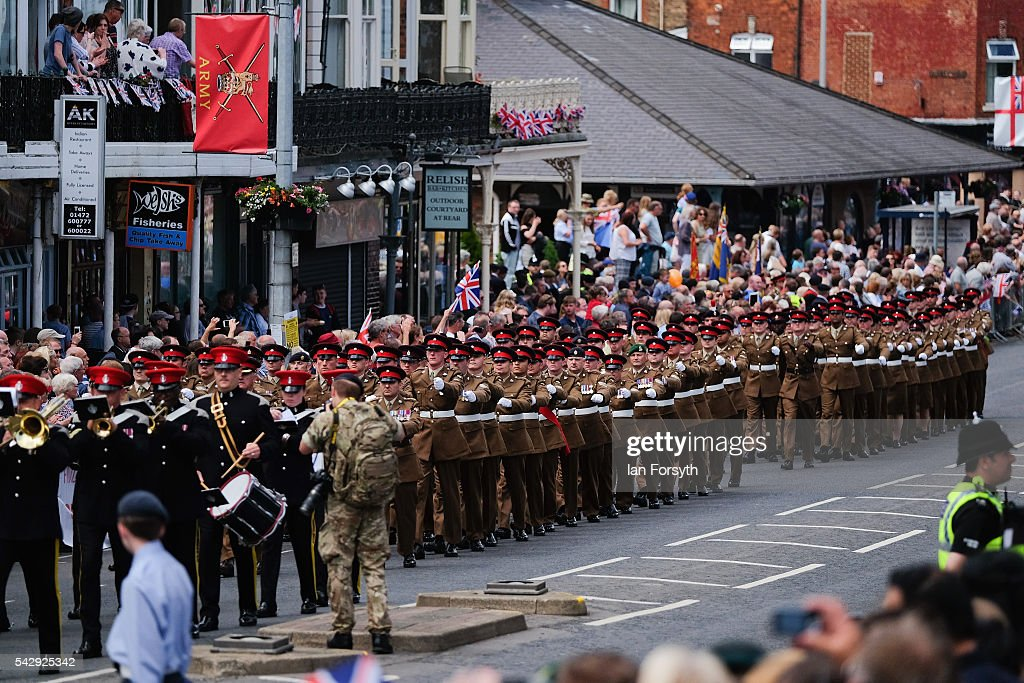 Soldiers march through the centre of town during the main military parade at the Armed Forces Day National Event on June 25, 2016 in Cleethorpes, England. The visit by the Prime Minister came the day after the country voted to leave the European Union. Armed Forces Day is an annual event that gives an opportunity for the country to show its support for the men and women in the British Armed Forces.