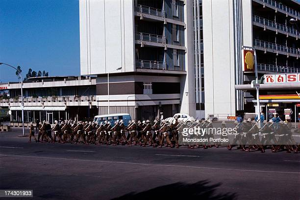 Soldiers marching in a street of the capital during the days of the putsch Addis Abeba settember 1974