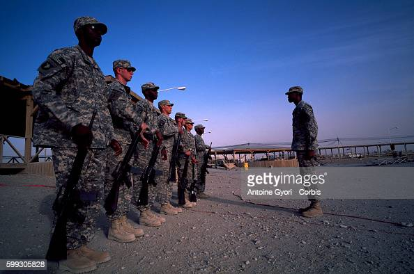 US soldiers members of NATO International Security Assistance Force training at Kandahar Military Base An estimated 12000 soldiers live on the base