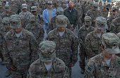 US soldiers observe a moment of silence during a memorial ceremony in remembrance of those who perished thirteen years ago during the 9/11 attacks in...