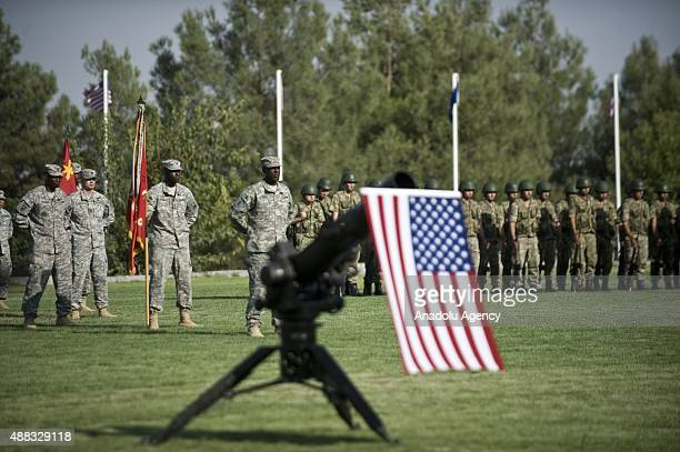 US soldiers of 10th Army Air and Missile Defense Command and Turkish soldiers of 5th Armored Brigade Command are seen during a ceremony as their duty...