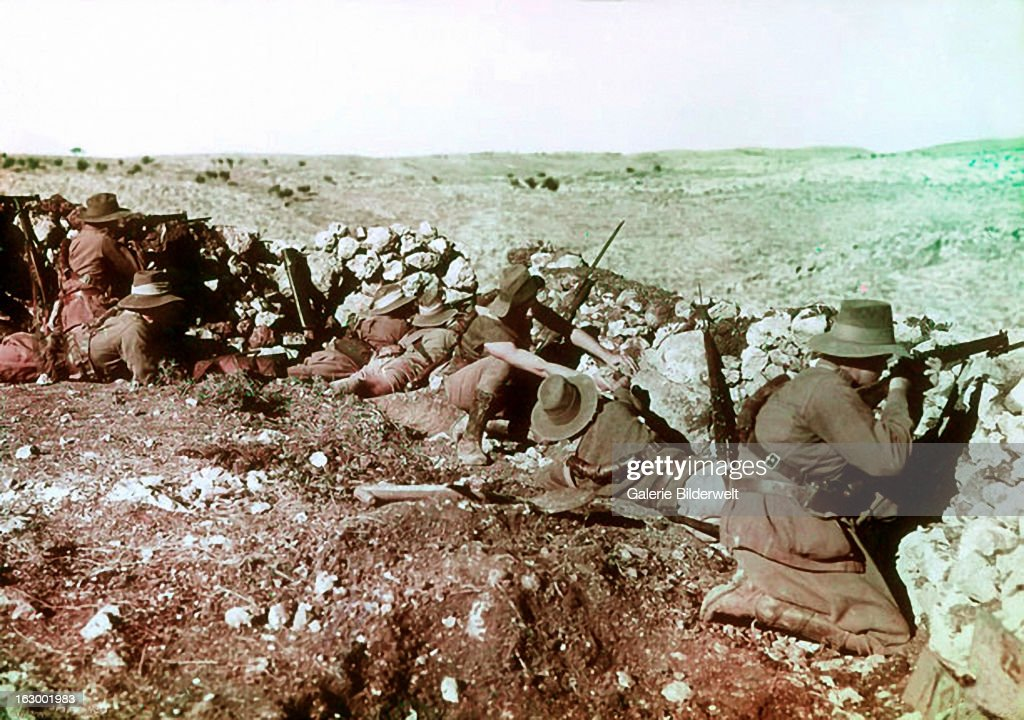 Soldiers of the 2nd Australian Light Horse Regiment behind the front line barricades at Nalin during the war against the Ottoman Empire The second...