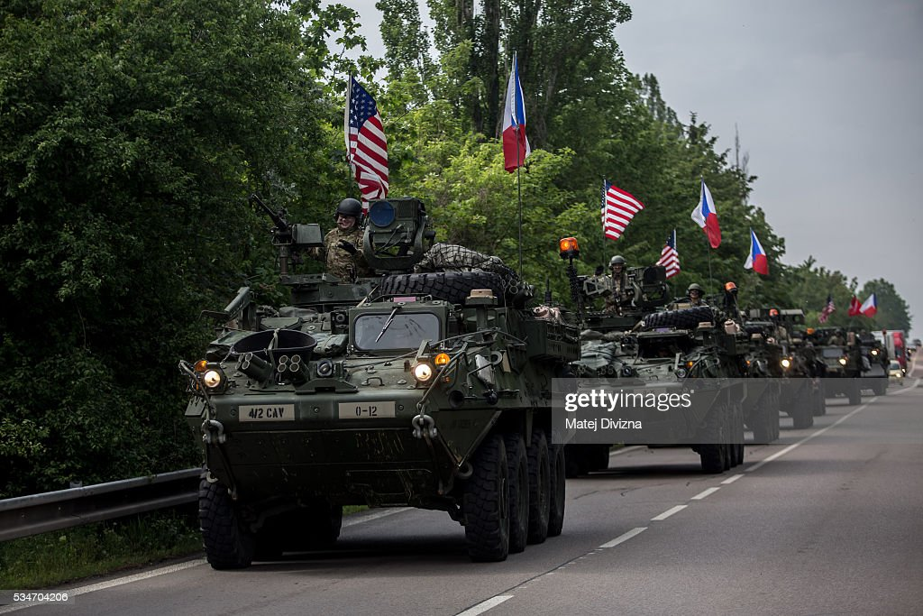 U.S. soldiers of the 2nd Cavalry Regiment of the US Army arrive to Czech army barracks on May 27, 2016 in Prague, Czech Republic. About 420 U.S. soldiers with 225 army vehicles are travelling in the 'Dragoon Ride II' convoy from Germany to Estonia where they will participate in the Saber Strike 16 exercise in the Baltic region. With this exercise, NATO shows cohesiveness and readiness of the involved countries to collective defense and future operations in Europe.