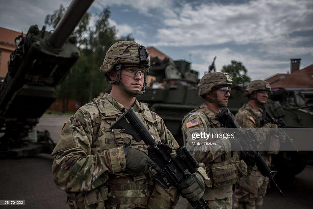 U.S. soldiers of the 2nd Cavalry Regiment of the US Army line up as they arrived at Czech army barracks on May 27, 2016 in Prague, Czech Republic. About 420 U.S. soldiers with 225 army vehicles are travelling in the 'Dragoon Ride II' convoy from Germany to Estonia where they will participate in the Saber Strike 16 exercise in the Baltic region. With this exercise, NATO shows cohesiveness and readiness of the involved countries to collective defense and future operations in Europe.