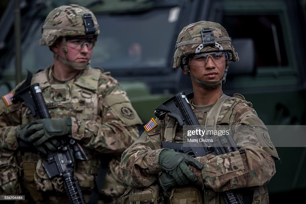 S soldiers of the 2nd Cavalry Regiment of the US Army line up as they arrived at Czech army barracks on May 27 2016 in Prague Czech Republic About...