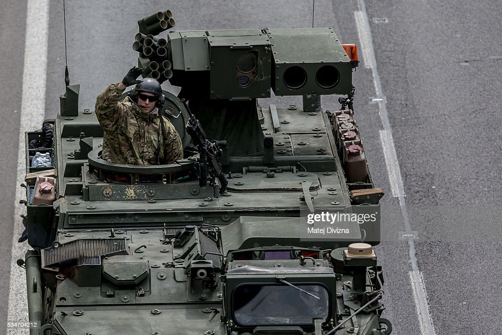 U.S. soldiers of the 2nd Cavalry Regiment of the US Army rolling down the highway on May 27, 2016 near Prague, Czech Republic. About 420 U.S. soldiers with 225 army vehicles are travelling in the 'Dragoon Ride II' convoy from Germany to Estonia where they will participate in the Saber Strike 16 exercise in the Baltic region. With this exercise, NATO shows cohesiveness and readiness of the involved countries to collective defense and future operations in Europe.