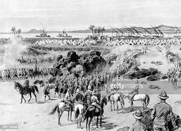 Soldiers of the British 1st Brigade leave camp at Wad Hamed on the bank of the Nile in the Sudan to begin their march on Omdurman August 1898...