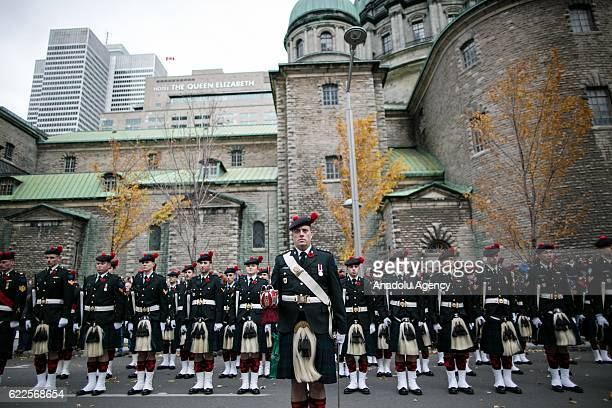 Soldiers of the Canadian army are seen during Remembrance day ceremonies in Montreal Canada November 11 2016 Canadians hold Remembrance Day...