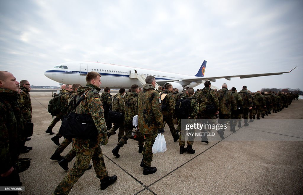 240 soldiers of the German Bundeswehr are leaving for the military mission 'patriot' missile defense in Turkey on January 20, 2013 in Berlin.