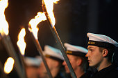 Soldiers of the German Bundeswehr carry torches in the honourary farewell ceremony for outgoing German Chief of Staff Wolfgang Schneiderhan on...