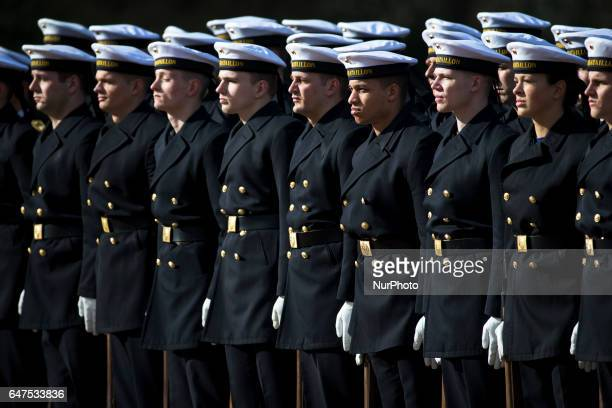 Soldiers of the Guard of Honour are pictured during a visit of Austrian President Alexander van der Bellen at the Bellevue presidential palace in...