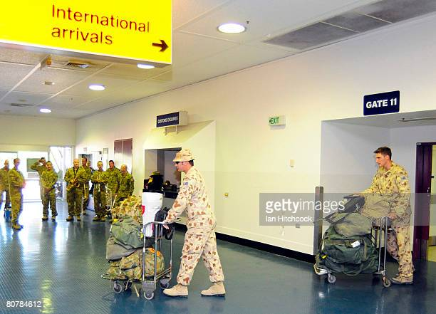 Soldiers of the Reconstruction Task Force Three return home from Afghanistan at Townsville International Airport on April 20 2008 in Townsville...