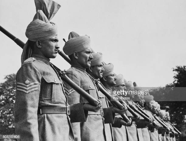 Soldiers of the Royal Indian Army Service Corps on parade at their camp in the north of England 2nd September 1940