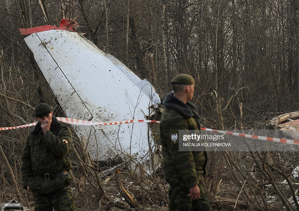 Soldiers of the Russian Interior Ministry stand guard on April 11 2010 near the wreckage of a Polish government Tupolev Tu154 aircraft which crashed...