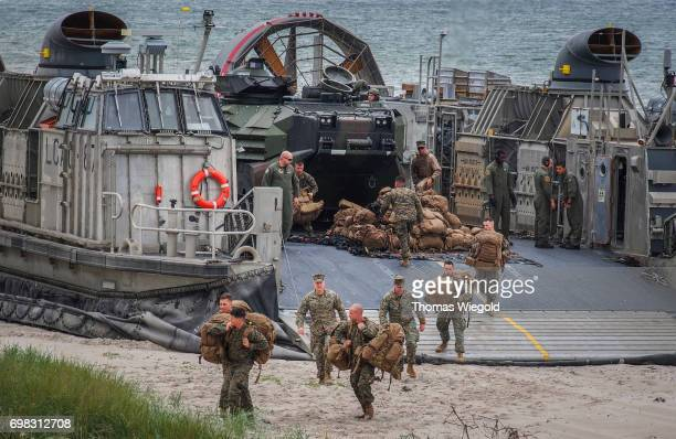 Soldiers offload a Landing Craft Air Cushion during an Amphibious Landing Exercise on June 08 2017 in Oldenburg Germany
