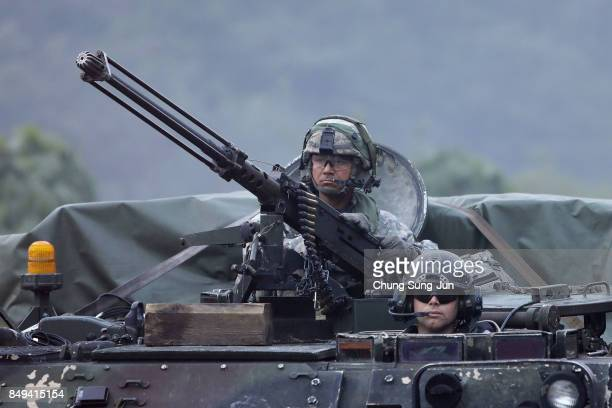 S soldiers on M113 armored vehicles take part during the Warrior Strike VIII exercise at the Rodriguez Range on September 19 2017 in Pocheon South...