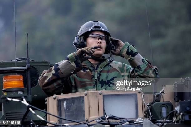 S soldiers on M2 Bradley armored vehicles participate during the Warrior Strike VIII exercise at the Rodriguez Range on September 19 2017 in Pocheon...