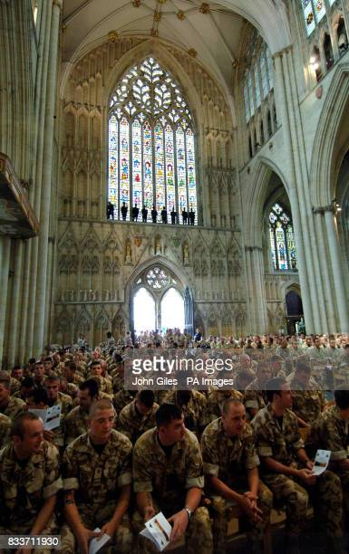 Soldiers pack York Minster for the 19 Light Brigade memorial and thanksgiving service for those who died in Operation Telic 9 in Southern Iraq