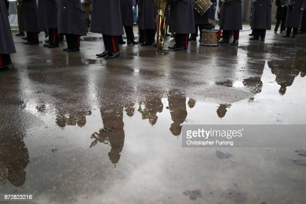 Soldiers parade and pay their respects as they attend the annual Armistice Day Service at The National Memorial Arboretum on November 11 2017 in...