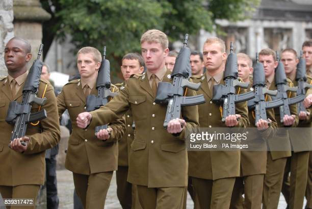 Soldiers parade for the funeral of soldier Joshua Hammond at St Andrew's Church Plymouth