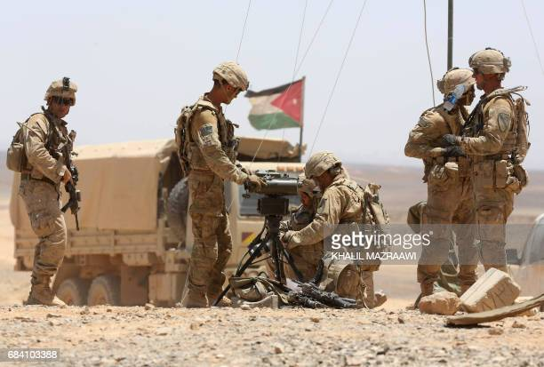 US soldiers participate in the annual military exercises known as 'Eager Lion' near Maan some 200 kilometres south of the capital Amman on May 17...