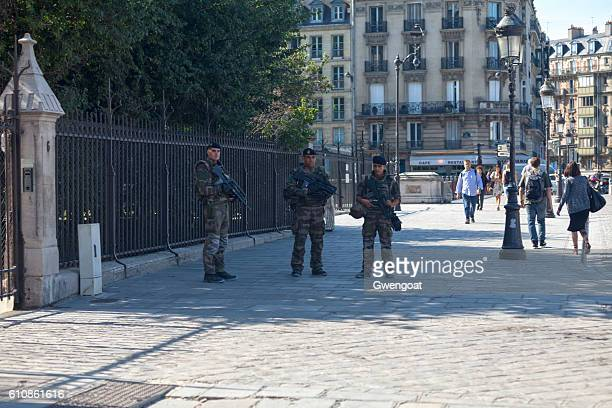 Soldiers patrol in Notre Dame de Paris