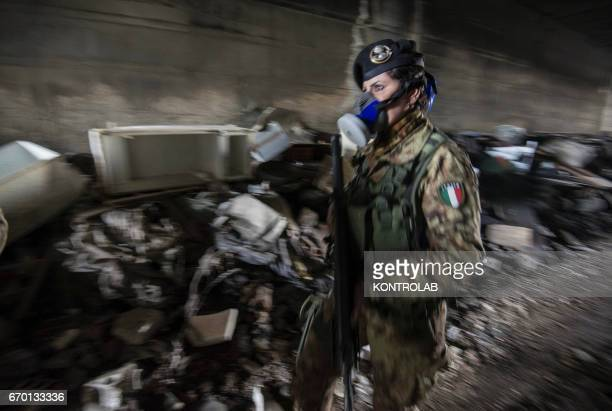 Soldiers patrol the area where there are many illegal dumps filled with toxic refuse The area between Giugliano and Melito known as Terra dei Fuochi...