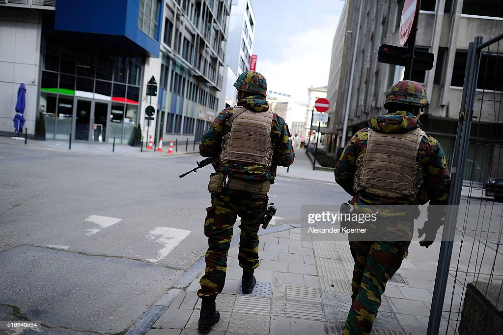 Soldiers patrol the scene at the Maelbeek metro station following todays attack on March 22 2016 in Brussels Belgium At least 31 people are thought...