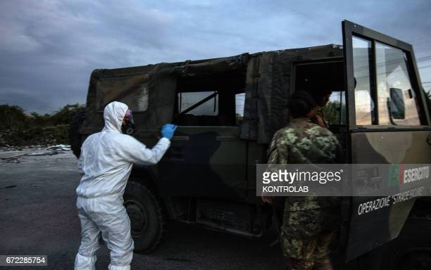 Soldiers patrol the street in the area called Land of Fires 'Terra dei Fuochi' in Caserta southern Italy the area is suspected full of illegal dump...