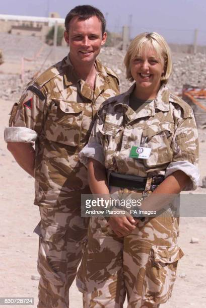 Soldiers Paul Taylor from the Engineers and Lynn Stevenson from Signals who had lunch with the Prime Minister Tony Blair at Al Sha'afa Military base...