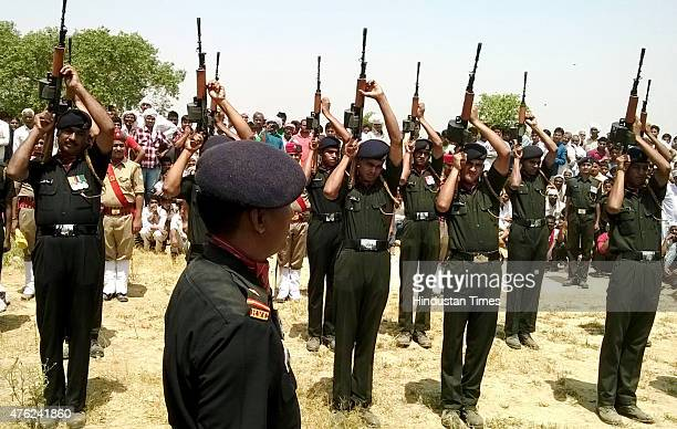 Soldiers paying tribute to their companion soldier Jagveer Singh who was killed in Ambush in Manipur at Muradghadi Village on June 7 2015 in Greater...