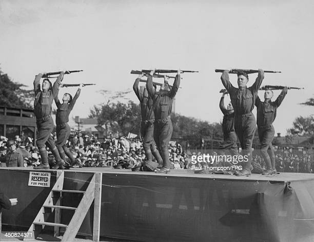 US soldiers performing exercises at an Army and Navy Garden Fete at Governors Island during World War One New York USA circa 19141918