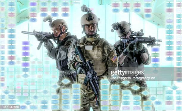 Soldiers pointing gun at illuminated holograms