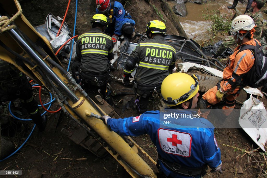 Soldiers, policemen and Red Cross members search for victims on December 30, 2012, after a landslide along a road between the cities of Neiva and Florencia, in southwestern Colombia. The landslide, occured Saturday, has left at least two people dead, seven injured and vehicles buried in mud, officials and witnesses said. The stability of the slope itself is also being assessed to determine if it is safe for the rescue teams to work. AFP PHOTO/Diario del Huila