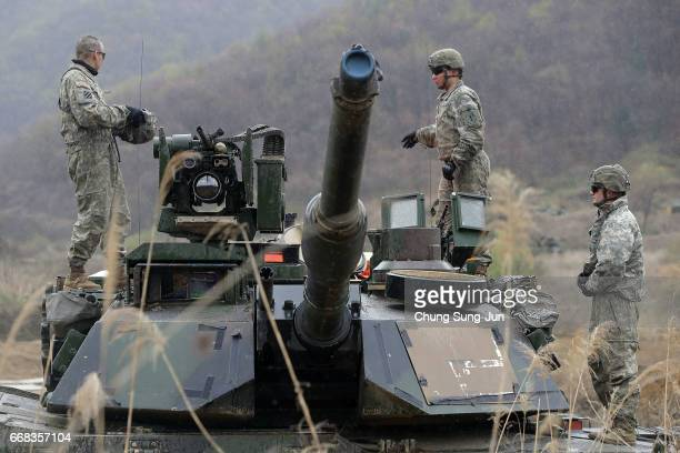 US soldiers prepare for a military exercise near the border between South and North Korea on April 14 2017 in Paju South Korea The tension around...
