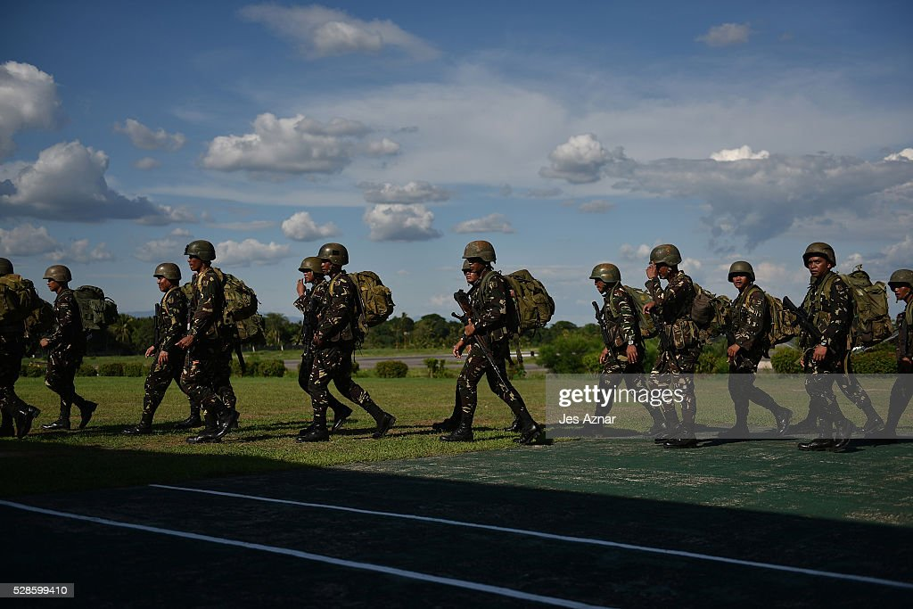 Soldiers prepare for deployment inside their camp in Datu Odin Sinsuat, Maguindanao, Philippines on May 5, 2016, just a few days before the country's national elections. Philippine authorities has put its military and police forces on red alert in preparation for the upcoming elections on May 9. During election season, the country records a high rate of election-related violence, with 145 cases during the last 2013 polls.