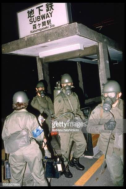 Soldiers prepare to clean out Kasumigaseki subway station after an attack using sarin gas The attack by the religious group Aum Shinrikyo took place...