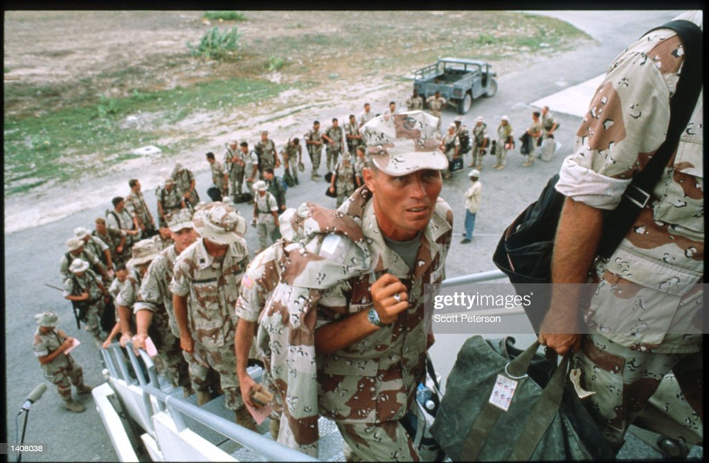 US soldiers prepare to depart May 4 1993 in Mogadishu Somalia UN peacekeeping troops will continue the humanitarian intervention aimed at ensuring...
