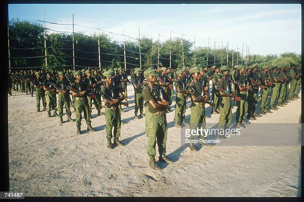 UNITA soldiers rehearse marching for Armed Forces Day January 23 1990 near Jamba Angola The National Union for the Total Independence of Angola and...