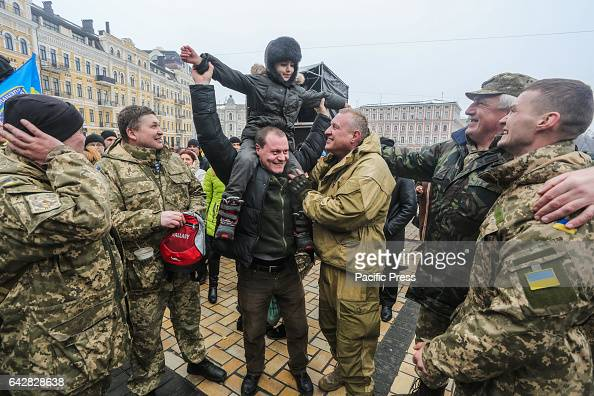 Soldiers reunite with their family and friends Soldiers fought for the city of Debaltsevo in Donetsk region they were surrounded by the proRussian...