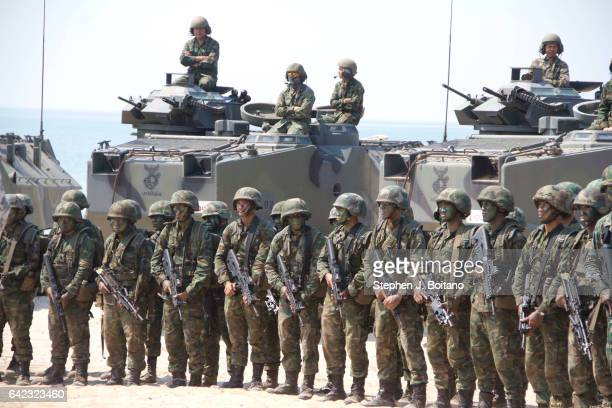 SATTAHIP CHONBURI THAILAND Soldiers stand on the beach head during the USThai joint military exercise titled 'Cobra Gold' on Hat Yao beach in...