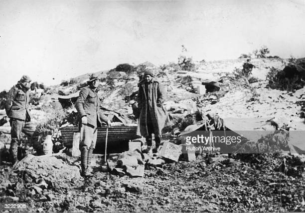 Soldiers standing by snow covered trenches at Gallipoli during World War I 1915