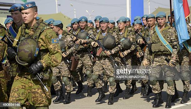 Soldiers take part in a joint exercise of the Collective Security Treaty Organization Peacekeeping Forces at a training ground in Armenia on...